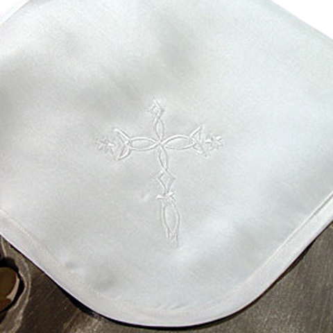 Celtic Cross Embroidery Handmade Silk Blanket Infants (3DPBLKC)