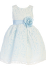 Girls Light Blue & White Floral Lace Dress with Shantung Sash M726