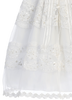 Organza Overlay Christening Gown w Floral Lace & Sequins (Pauline)