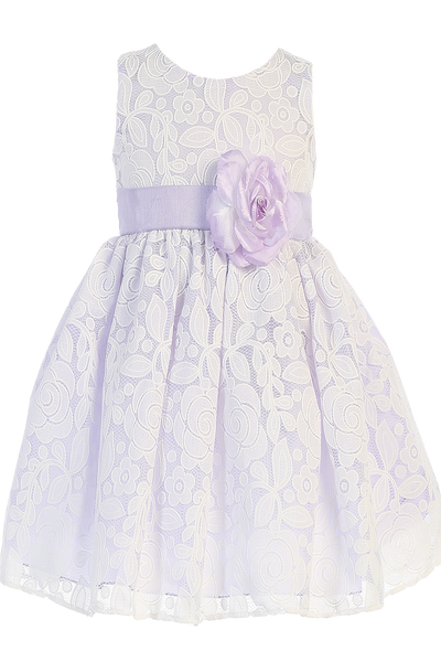 Girls Lilac & White Floral Lace Dress with Shantung Sash M726