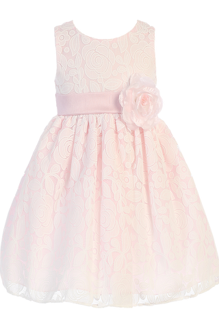 Pink Taffeta & White Floral Lace Tulle Overlay Easter Spring Dress Girls (M726)