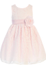 Girls Pink & White Floral Lace Dress with Shantung Sash M726