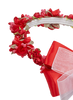 Red Silk Floral Crown Wreath w Satin Back Bows Girls (HB007)
