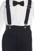 Black Suspender Pants, Long Sleeve 5 Pc Outfit with Cap Little Boys (G829)