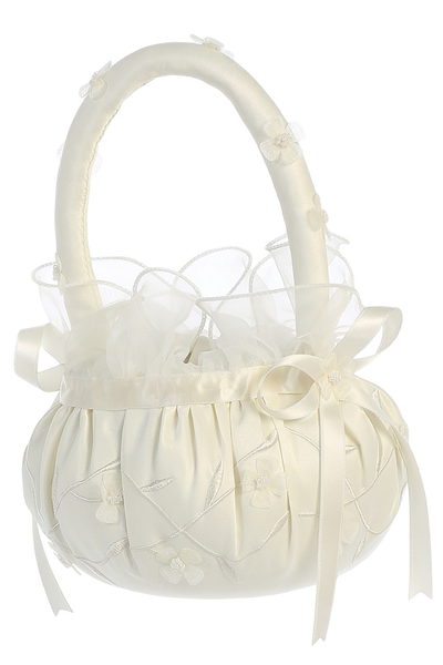 Satin Flower Girl Basket w Pearls & Organza Flowers (FB71)
