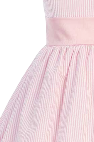 Pink Cotton Seersucker Dress w PolySilk Sash (Baby 6 months - Girls Size 12)