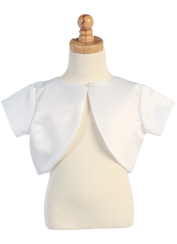 Girls White Satin Short Sleeve Bolero Jacket with Pearl Button