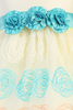 Girls Ivory Organza Dress w. Floral Embroidery & Teal Flowers 6m-10