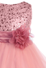 Girls Rose Pink Sequin Party Dress w. Lettuce Tulle Hem KD305