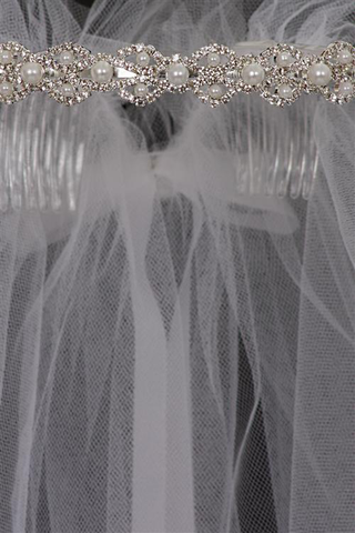 Pearls & Rhinestones Crown w White Tulle Veil First Holy Communion (Veil018)