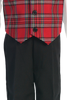 Red Plaid Vest & Black Pants Boys 4 Pc Christmas Holiday Outfit (C565)