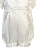 Romper w Cross Embroidered Bib Satin Christening Outfit (8610)