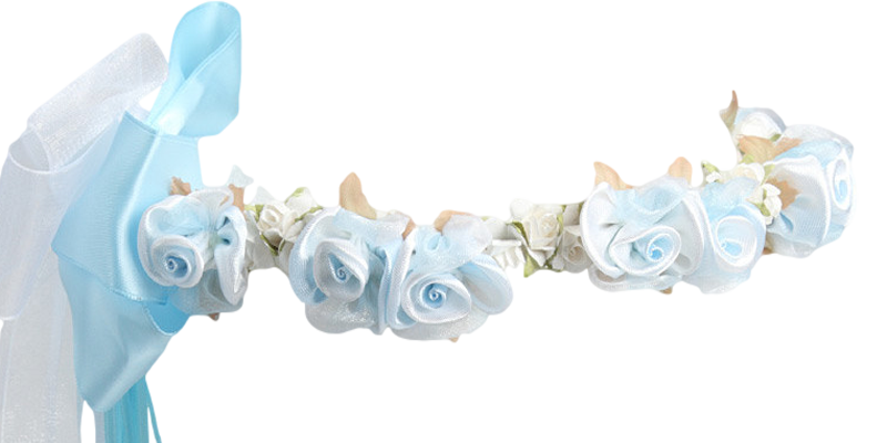Light Blue Silk & Satin Floral Crown Wreath Girls – Rachel ...