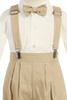 Khaki Tan Linen Suspender Knickers 5 Pc Easter Spring Outfit Baby Boys (G827)