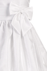Subtle Striped White Organza First Holy Communion Dress w Wide Satin Waist (Girls Sizes 5 to 12)