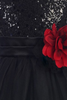 Black Sequins, Satin & 2 Layer Mesh Girls Formal Occasion Dress (305)