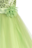 Light Green Sequins, Satin & 2 Layer Mesh Girls Formal Occasion Dress (305)