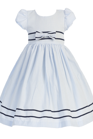 Light Blue Cotton Seersucker Little Girls Spring Dress w Navy Trim (M668)