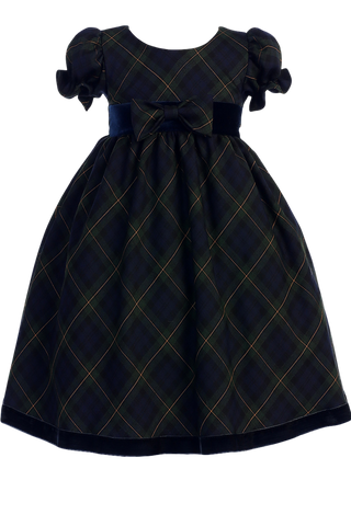 Green & Blue Plaid Girls Ruffle Sleeve Holiday Dress w. Velvet Trim 3M-4T (C814)
