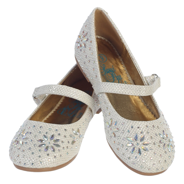 Ivory Glitter Girls Dress Shoes with Iridescent Beading (Jade)