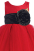 Red Tulle & Poly Silk Girls Christmas Dress w Black Sash (BL228)