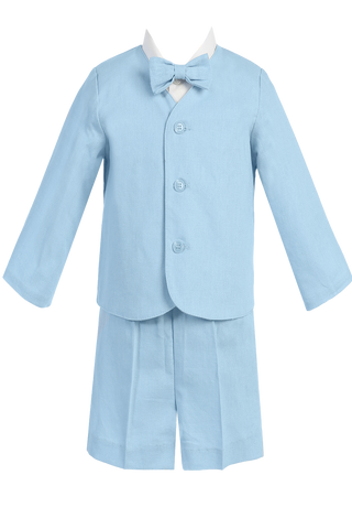 Light Blue Linen Eton Jacket & Shorts 4 Pc Spring Outfit Little Boys (G828)