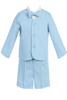 Boys Light Blue 4pc Linen Eton Jacket & Shorts Dresswear Set  G828