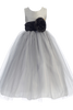 Silver Layered Tulle Flower Girl Dress with Custom Sash & Flower  BL228