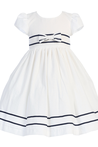 White Cotton Seersucker Little Girls Easter Spring Dress w Navy Trim (M668)