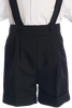 Black Suspender Shorts 4 Piece Suit Spring Outfit with Cap (Baby or Toddler Boys)