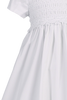 White Cotton & Lace Trim Smocked Girls Christening Gown 0-18m