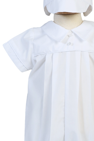Cotton Pleated Christening Romper Outfit with Hat Boys