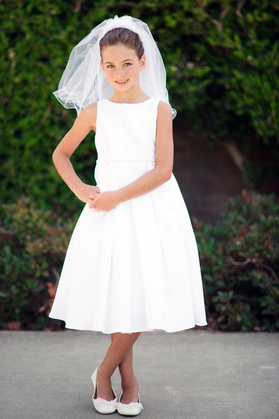 Bridal Satin First Holy Communion Dress w Box Pleats in White or Ivory (235)