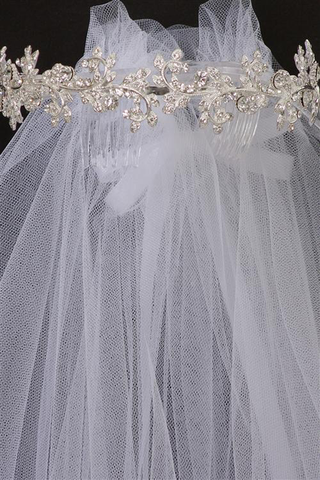 Crystal, Vines & Leaves Crown w White Tulle Veil First Holy Communion (Veil019)