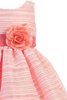 Coral Striped Organza Overlay Girls Easter Spring Dress w Satin Sash (M724)