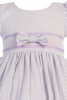 Lilac Cotton Seersucker Little Girls Easter Spring Dress w Ribbon Trim (M668)