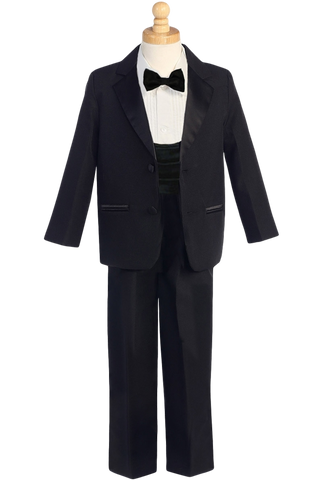 Dinner Jacket 2 Button Tuxedo with Cummerbund & Bow Tie Boys (7535)