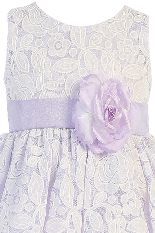 Lilac Taffeta & White Floral Tulle Overlay Easter Spring Dress Girls (M726)