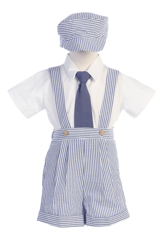Blue Cotton Seersucker Suspender Shorts 4 Pc Spring Outfit Baby Boys  (G822)