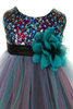 Teal & Black Sequins & 3 Layers Tulle Dress Baby Girls (328)