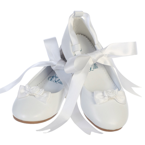 Ballet Flats White Dress Shoes w Satin Ribbon Tie Girls (Rose)