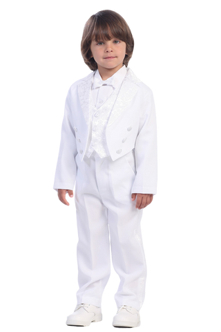 Classic Tailcoat White Tuxedo with Paisley Trim Boys (7900)