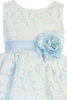 Light Blue Taffeta & White Floral Tulle Easter Spring Dress Girls (M726)