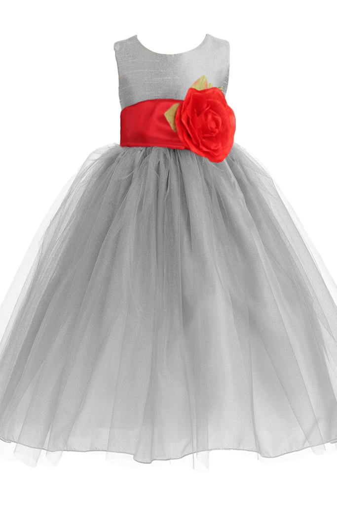 Silver layered tulle flower girl dress with custom sash flower 6m silver layered tulle flower girl dress with custom sash flower bl228 mightylinksfo