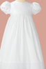 White Floral Eyelet Baby Girls Cotton Christening Gown w. Bonnet BJ24GS