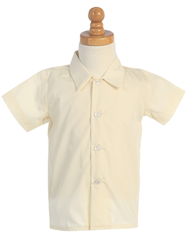 Boys Ivory Short Sleeve Button Down Dress Shirt  800