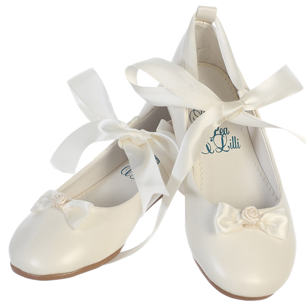 Ballet Flats Ivory Dress Shoes w Satin Ribbon Tie Girls (Rose)