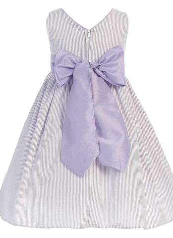 Lilac Cotton Seersucker Girls Easter Spring Dress w Poly Silk Sash (M642)