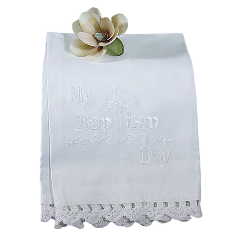 Baptism Towel Embroidered White Cotton with Cluny Lace Trim (Infant Boys or Girls)