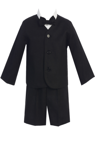 Boys Black Linen Eton Jacket & Shorts 4-pc Dresswear Set G828